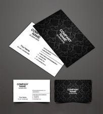 黑色欧式花纹名片设计