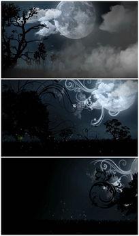 黑夜月亮卡通视频素材