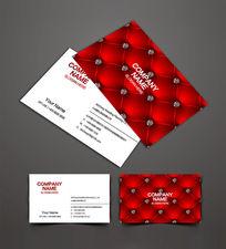 红色皮具家具名片设计