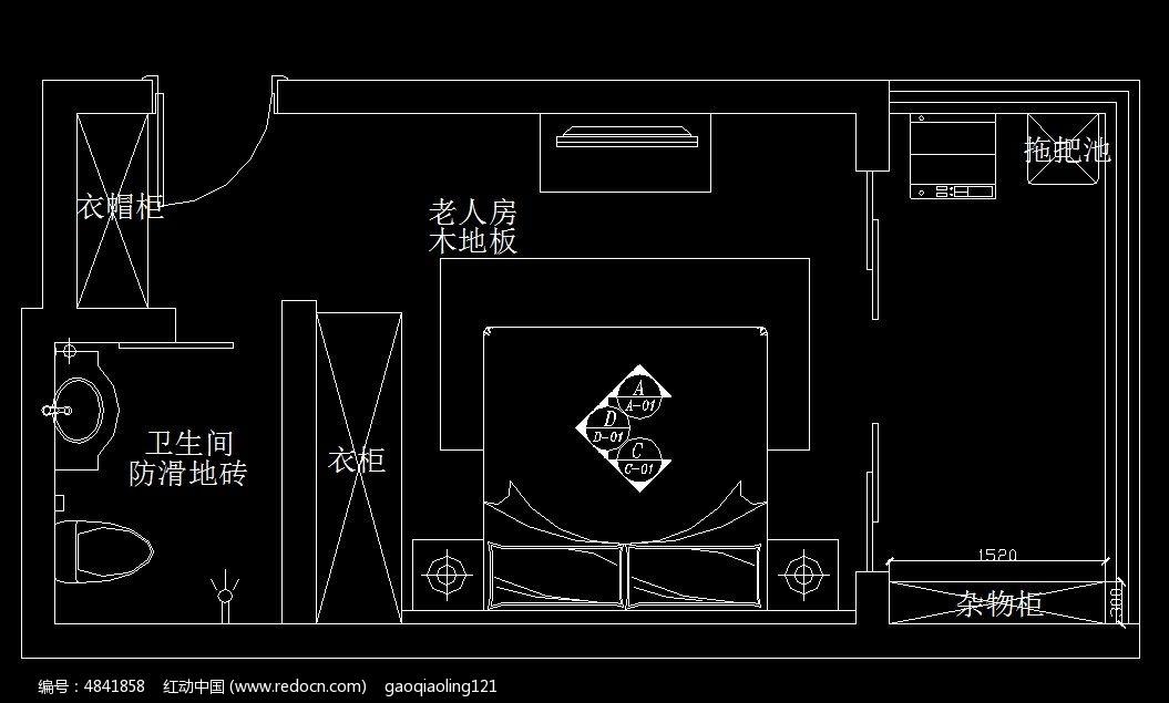 老人房卧室衣柜平面图