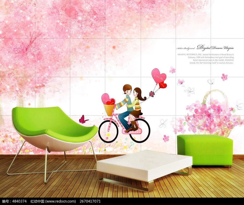 梦幻花卉浪漫卡通时尚电视背景墙