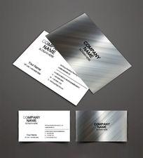 银色金属质感名片设计