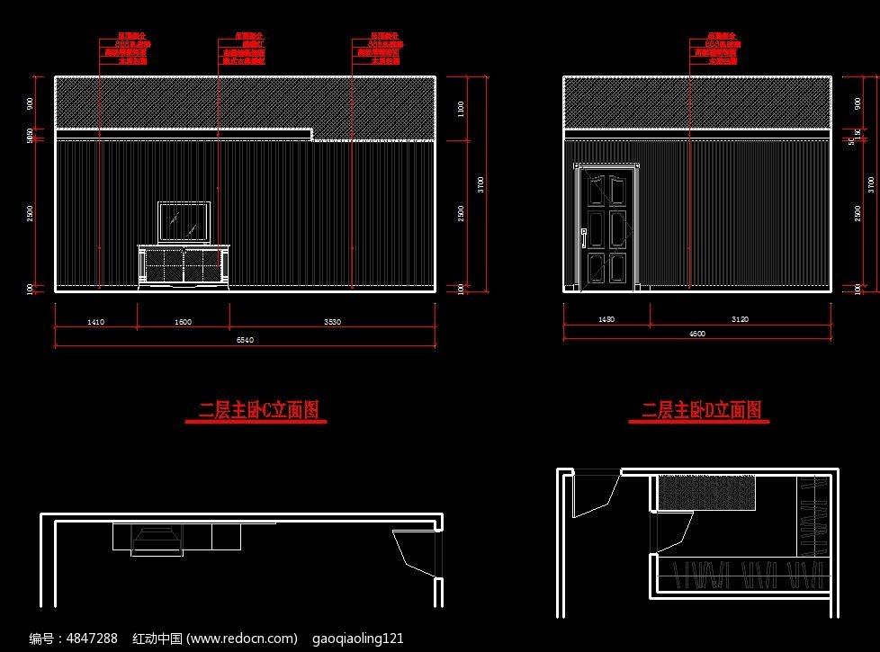 别墅二层主卧室立面图