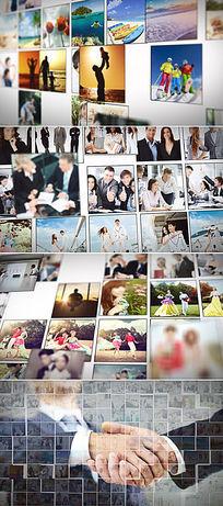 多图片照片汇聚成LOGO演绎AE模板