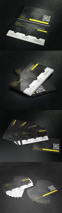 黑色质感全球物流二维码名片设计