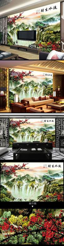 江山如画梅花长城电视背景墙