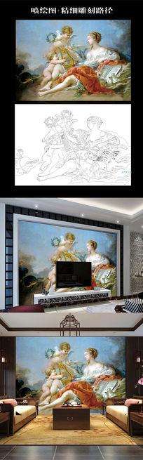 欧式油画天使和女人彩雕背景墙路径生产图