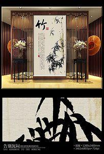 中国风水墨竹子玄关背景墙