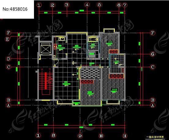 别墅一层地面材质设计图纸cad素材下载_建筑套图设计