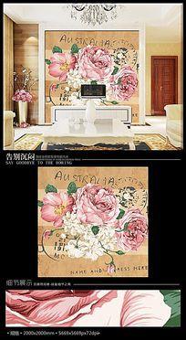 复古牡丹邮票风格电视背景墙