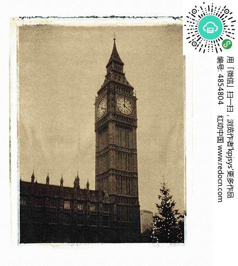 复古效果钟塔无框画设计
