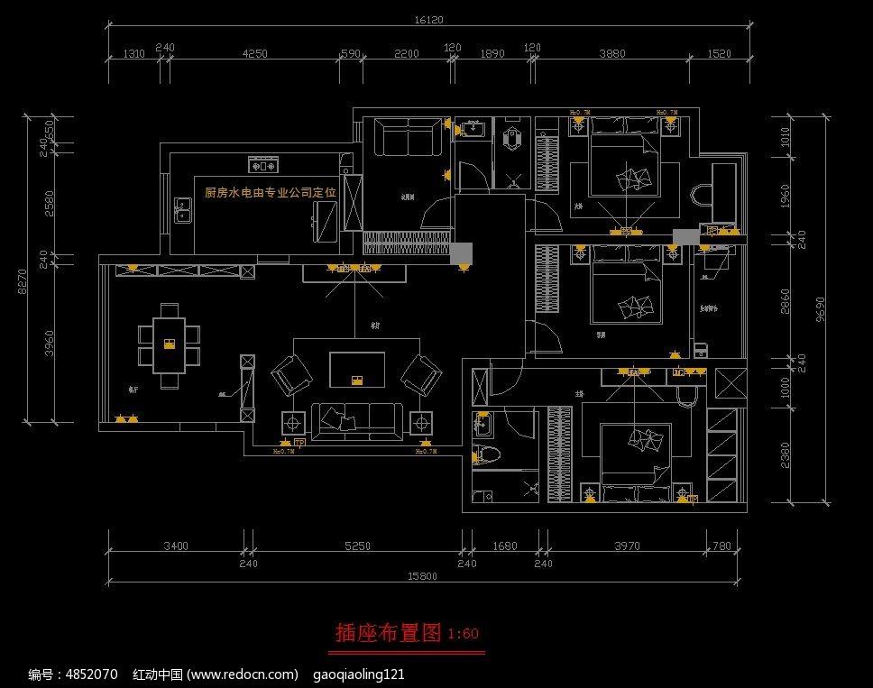 家装标准户型插座布置图cad素材下载