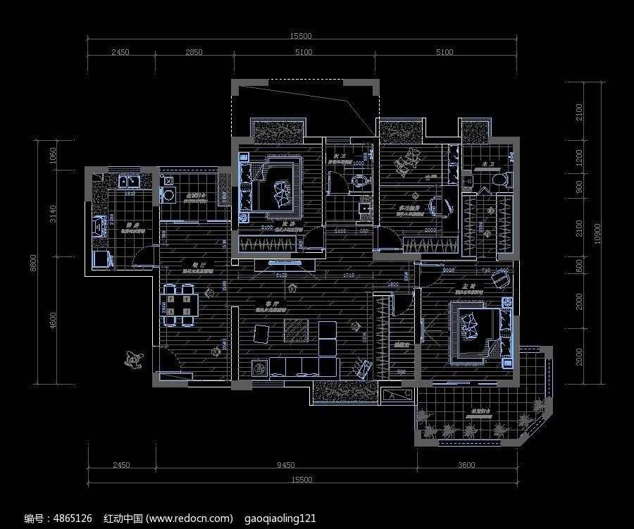 家装户型平面布置施工图纸cad素材下载_室内装修设计
