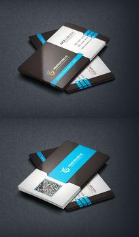 蓝色装饰公司二维码名片设计
