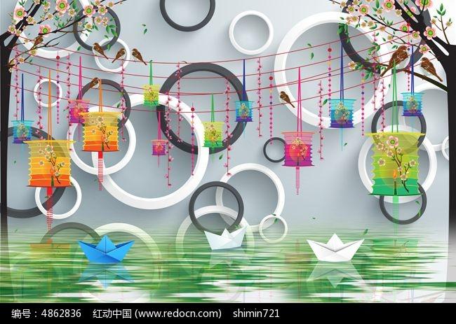 原创设计稿 装饰画/电视背景墙 背景墙 立体圆圈灯笼背景墙  请您分享