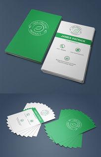 绿色环保竖版名片设计