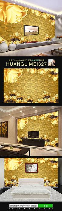 时尚简约金色玫瑰花室内背景墙装饰画