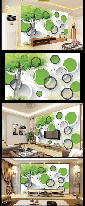 手绘树木立体圆环背景墙