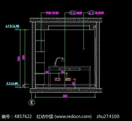 书房电脑桌立面图CAD素材下载 室内装修设计图片 编号4857622 红动