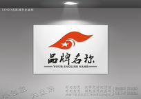 雄鹰飞翔标志 红旗飘扬logo