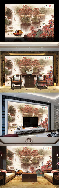 江南水乡中式山水电视背景墙