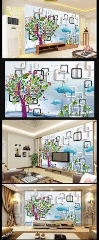 卡通海豚儿童房立体背景墙