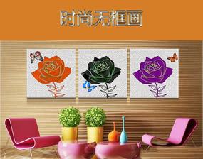 手绘玫瑰花三联无框画装饰画