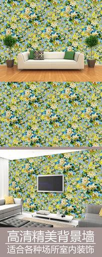 水粉画花纹连续图案背景墙
