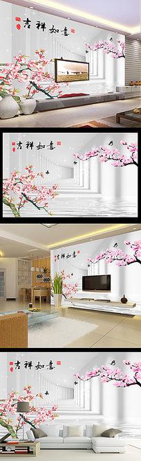 3D立体梦幻桃花空间拓展电视背景墙