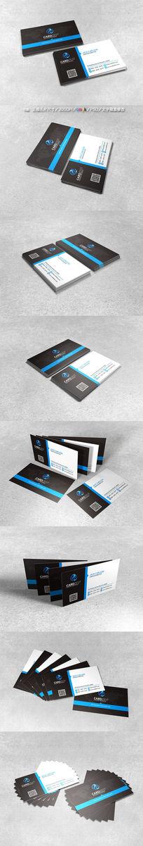 经典蓝色大气企业二维码名片模板