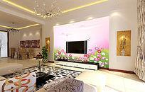 鲜花梦幻电视墙背景