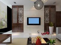中式客厅背景墙模型
