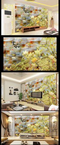 3D立体玉雕花鸟画背景墙