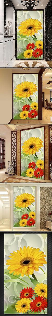 非洲菊花朵花卉3D玄关门厅过道背景墙