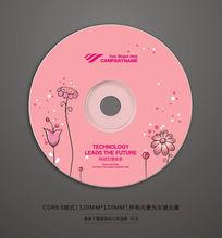 粉色花朵婚庆光盘贴设计