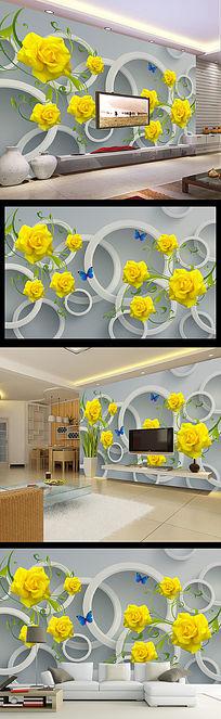 黄玫瑰时尚雅致3D圆圈背景墙