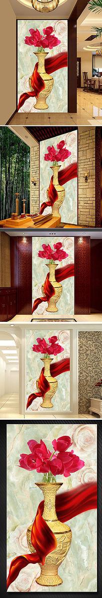 花瓶花朵玉雕彩雕过道屏风门厅玄关背景墙