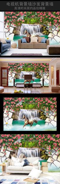 骏马高清立体壁画背景墙