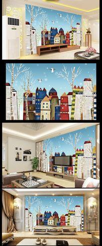 卡通地中海背景墙