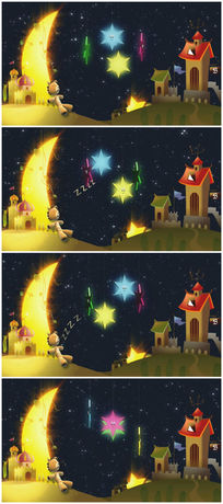 卡通月亮星星视频素材