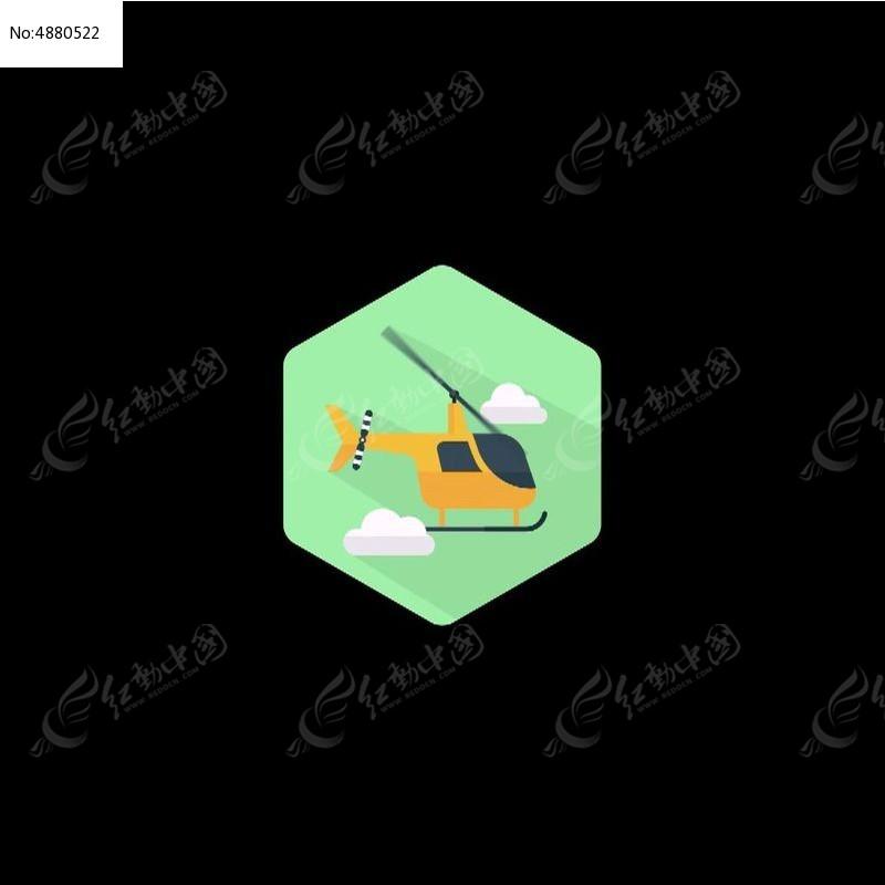 卡通直升飞机图标视频素材
