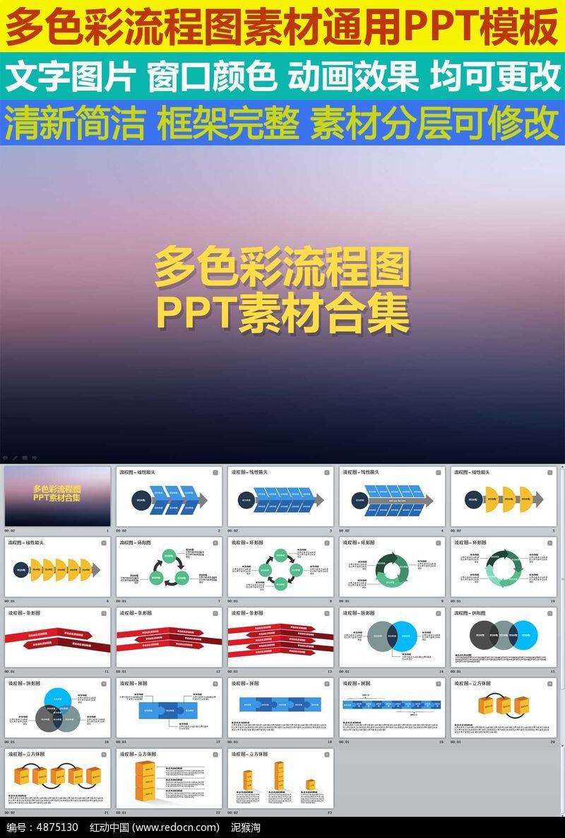 流程图彩色ppt模板素材图片