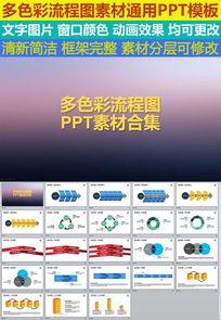 流程图彩色PPT模板素材