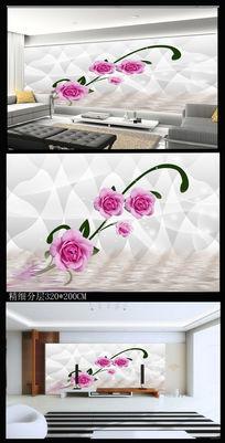 美丽一枝花电视背景墙