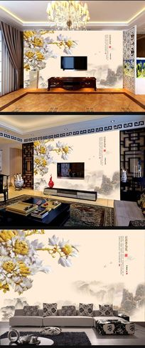 牡丹花木雕中式背景墙