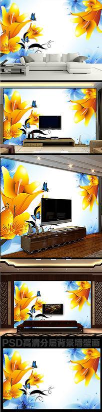 色梦幻时尚3D花朵电视墙