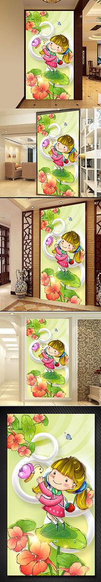 手绘儿童卡通唯美3D立体玄关背景墙