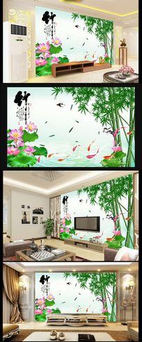 手绘莲花竹子背景墙