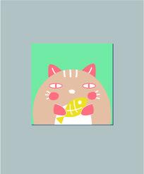 爱吃鱼的小猫咪本子封面设计