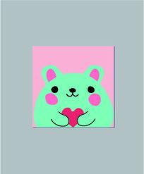 爱心小老鼠本子封面设计 AI